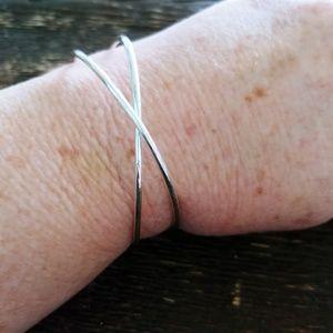 """""""X"""" Silver Tone Fashion Cuff Bracelet"""